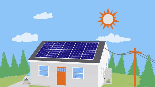Animation of a bungalow with solar panels which were installed by one of the best solar energy companies in Ireland.