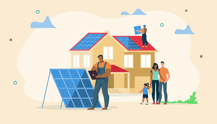 Animation of homeowners getting solar panels installed.
