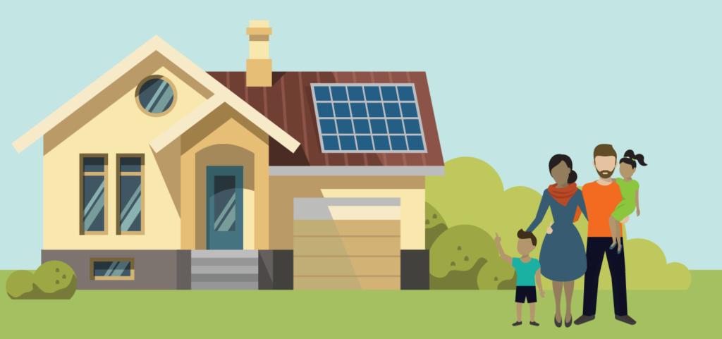 Solar Panels Galway on an cartoon house